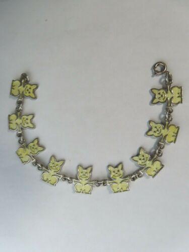 Meka Denmark Silver 925S Whimsical Yellow Enamel Cat Links bracelet