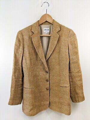 Armani Collezioni Light Brown Linen Blazer Jacket Sz 4