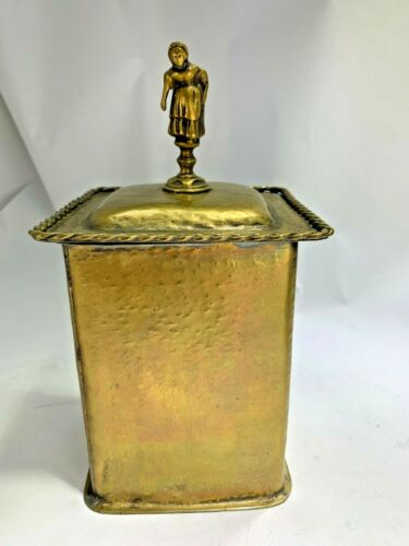Antique Brass Figural Finial English Tea Caddie