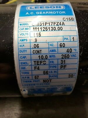 115hp Leeson 57rpm 115vac 1ph Pz Parallel Gearmotor M1125130