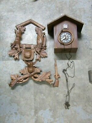 Vintage German cuckoo clock parts - as is
