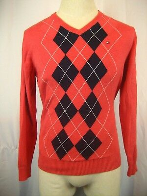 (Mens NWOT Tommy Hilfiger Cotton LS Rose/White/Navy Argyle V-neck Pullover sz M)