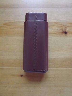 Brown Leather Cedar Lined 3 Finger Cigar Case