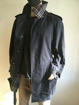 BURBERRY MENS XXL 2XL 46-50 CLASSIC CHECK LINED BELTED TRENCH COAT RAINCOAT MAC