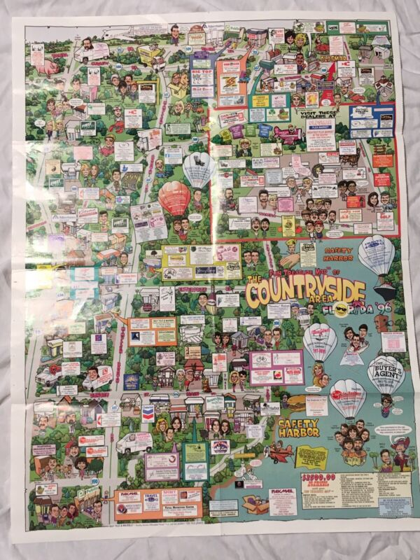 VTG 1996 Cartoon City Map Poster Countryside Florida (near Clearwater & Tampa)