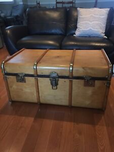 Antique Steamer Trunk - Wood Refinished - Coffee Table - REDUCED