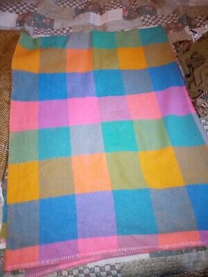 Vintage Sari-Toga All Wool Colourful Checked Blanket 58