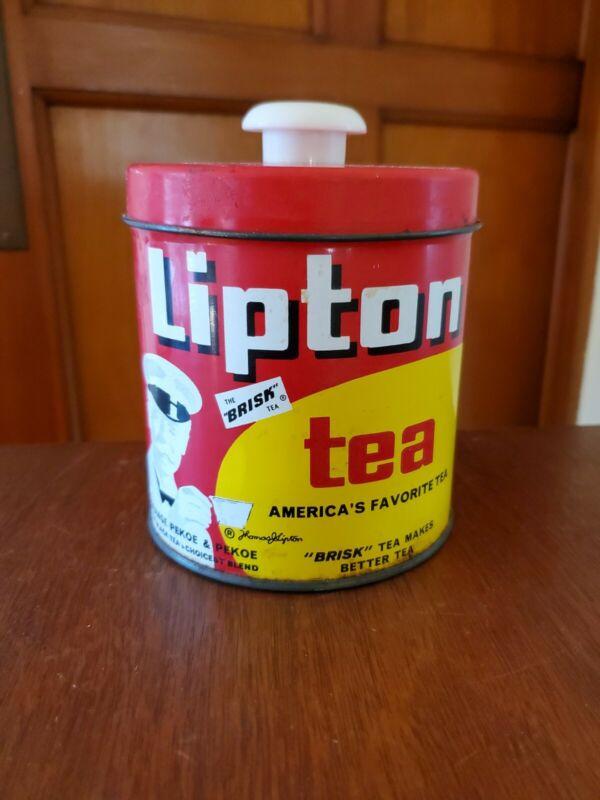 Vintage Lipton Tea Tin Canister made in Rockford Illinois - Button Top