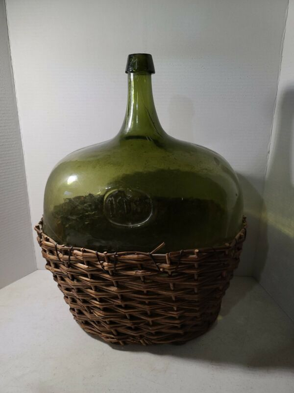 ⭐️ WOW!!! INCREDIBLE Large Antique GREEN Glass Wine Bottle Jug