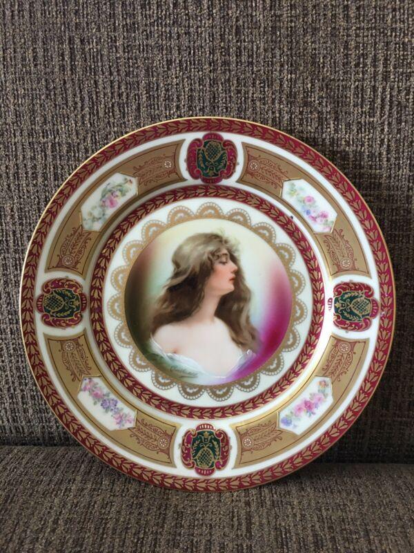 "Antique Schwarzburg Gold Beaded Hand Painted Portrait Cabinet Plate, 8 1/4"""