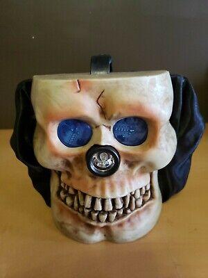 Halloween Trick or Treat Bucket Skull Head Electronic Sound & Light Up