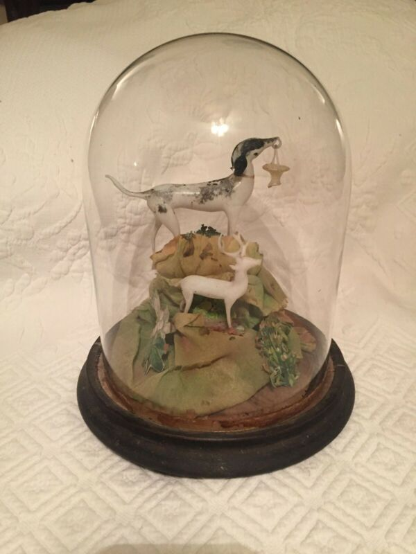 Antique Victorian Glass Dome Diorama with Glass Animals