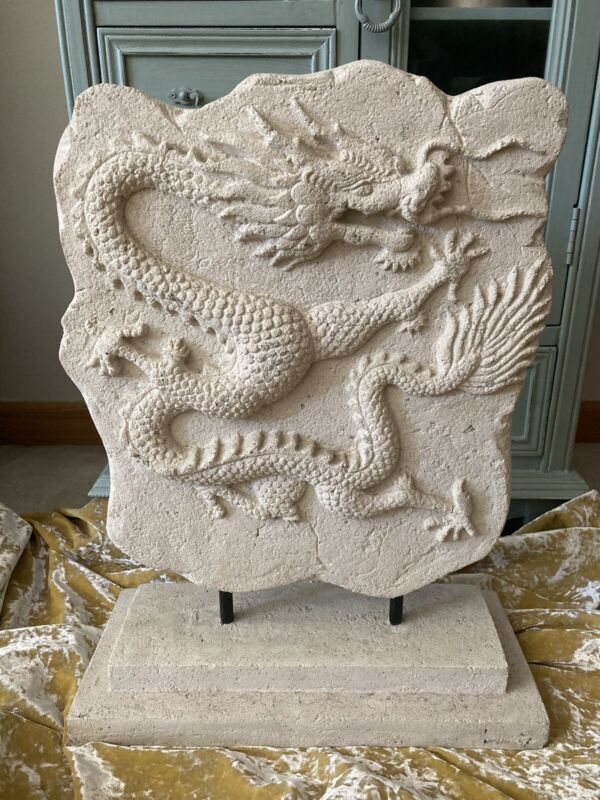 """Large Dragon Mythical Plaque Sculpture Stone Finish 18.5"""" Home Fantasy Decor"""