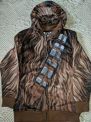STAR WARS  CHEWBACCA Disney costume jacket full zip hoodie 1/2 mask Youth Sz-S - Chewbacca Jacket