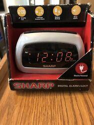 SHARP 6 Digital Alarm Clock Electric and has Battery Backup Alarm #SPC085D New