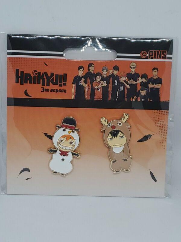 Haikyuu!! 3rd Season Christmas Snowman Hinata Tobio Kage Raindeer Enamel Pin Set
