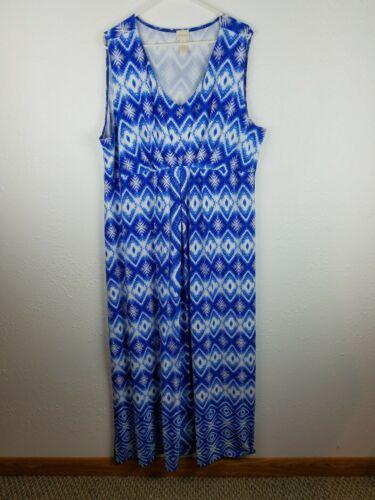 Chicos Sleeveless Stretch Maxi Dress Womens SZ4 XL Blue White Diamond A23 - $23.99