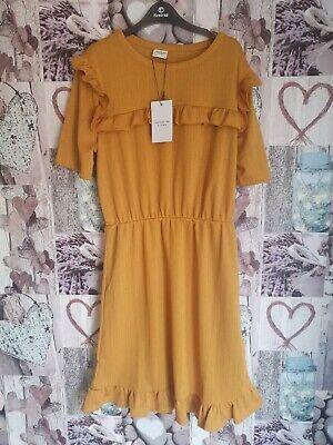 Jacqueline De Yong Nelly Short Sleeve Mini Dress Tawny Olive Uk Small