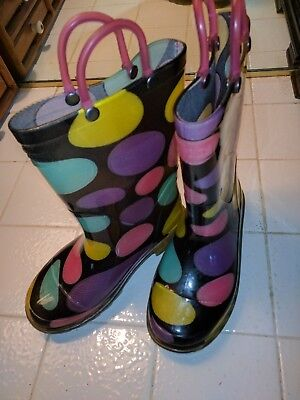 Girl's Western Chief Doodle Dots lighted Rain Boots little Girl's Size 11