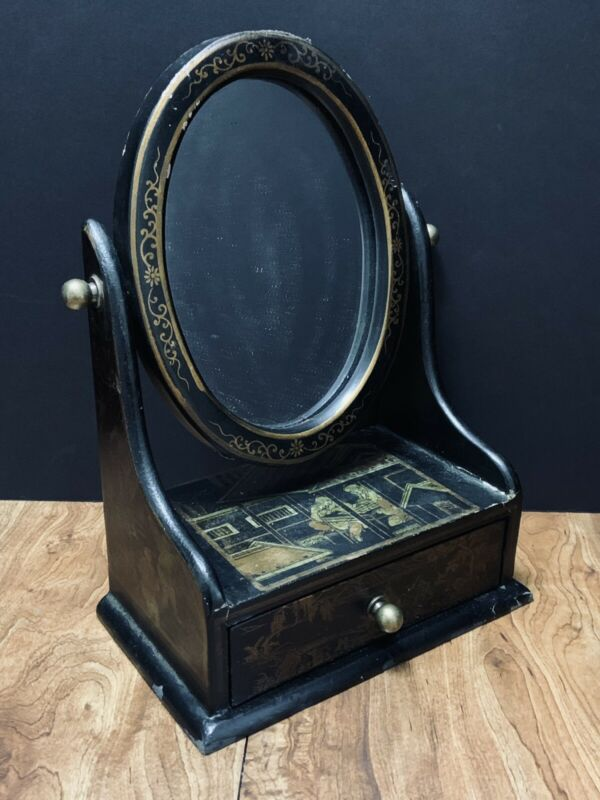 Black Lacquer BOX Tilt Mirror 1 Drawer Vanity Top Jewelry Asian Decorated