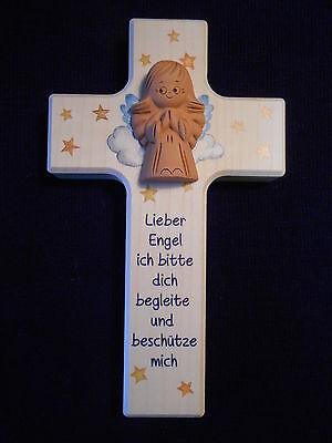 Kinderkreuz m. Schutzengel Taufkreuz Taufe Geburt Holzkreuz Kommunion für Junge