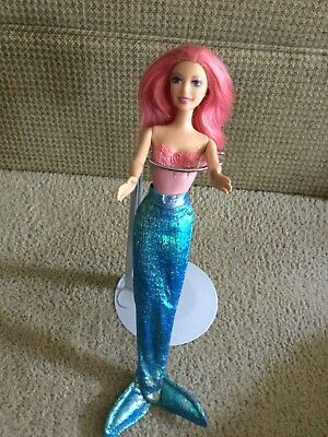 Mattel 2004 Barbie Doll Pink Hair Fairy Style in a Blue Iridescent Mermaid Tail
