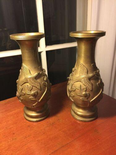 Pr Signed Antique Japanese Bronze/Brass Vases Leaves & Birds in High Relief