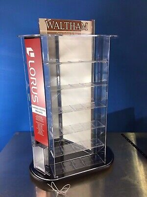 Earring Jewelry Display Case Stand 3-side Rotating Countertop W Cable