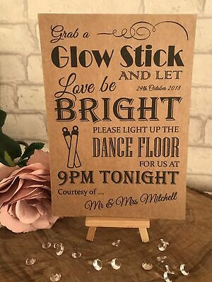 Personalised Sweet Table Glow Stick Send Off Wedding Sign Kraft card A5 A4 A3
