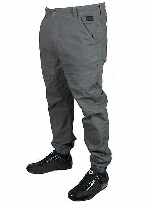 DML Mens Axel Regular Fit Designer Cargo Chino Cuffed Jeans Cotton Casual Pants