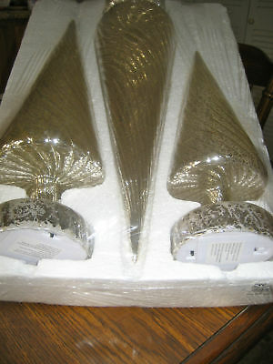 Set  3 Antique  Mercury Glass Candles By Valerie  H206053  Silver