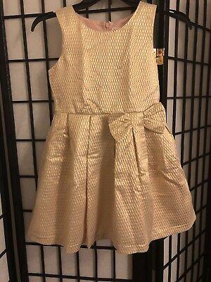 Girls Cat & Jack Girl's Gold Dress Bow Size Medium 7/8](Gold Girl Dress)