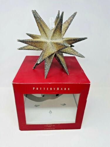 "Pottery Barn Large 10"" German Silver Glitter Glass Star Heirloom Christmas Ball"