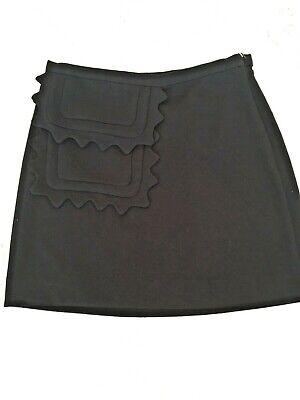 Small Victoria Beckham Target Black Twill Skirt Scallop Trim Pocket 17