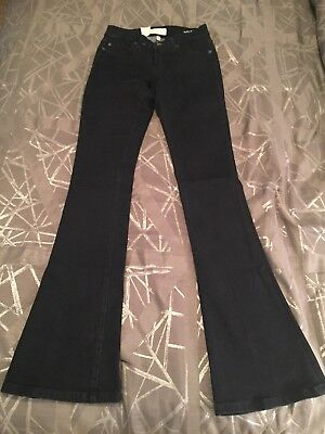 - Henry & Belle Denim Womens Micro Flare Jeans Stretch Dark Blue Wash Size 25