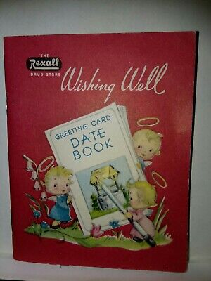 Vintage Rexall Drugstore Pocket Size Date Book by Wishing Well Greeting cards