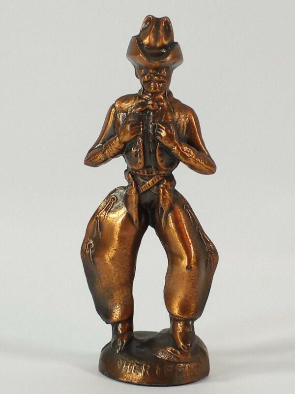 """Vintage Diecast Brass Metal Sheriff Cowboy Western Rodeo Statue 5"""" Figurine"""