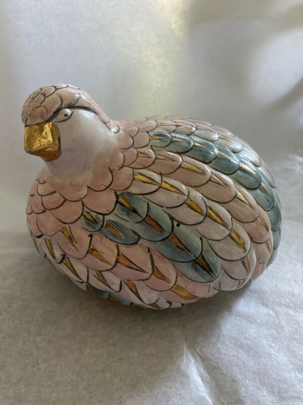 Vintage Toyo Ceramic Partridge Quail Bird Pastel Color with Gold Accents