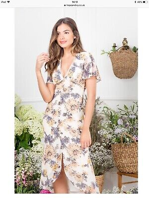 Hope And Ivy Cream Floral Midi Dress Size 10