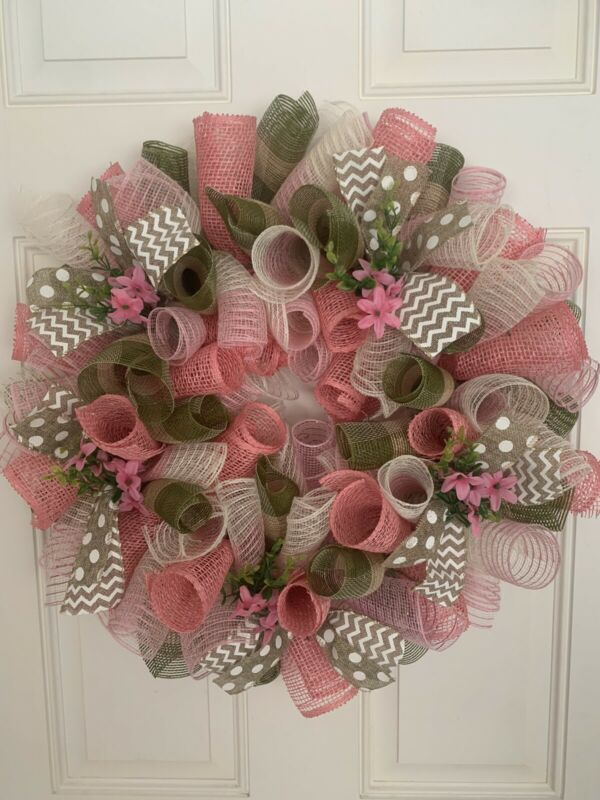 Spring Easter Farmhouse Deco Mesh Wreath
