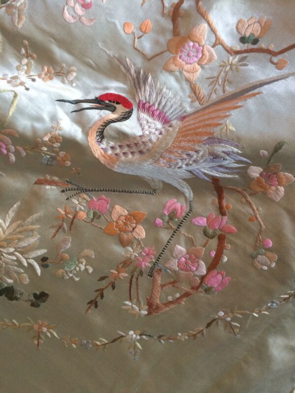 Very FINE ANTIQUE CHINESE EMBROIDERED SILK PANEL/Cover Stork Colorful Fringe