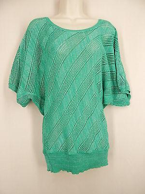 2b BEBE Size L Green Silver Metallic Short Dolman Sleeve Sweater - Metallic Short Sleeve Sweater