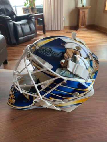 Jake Allen St. Louis Blues NHL goalie mask helmet memorabilia worn game jersey