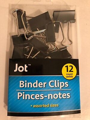 12 Black Metal Binder Clips File Paper Photo Stationary Office Use Durable Dg