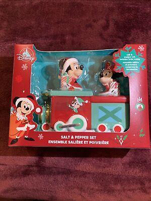 Disney Parks 2020 Christmas Holidays Mickey Minnie Train Salt Pepper Shaker Set