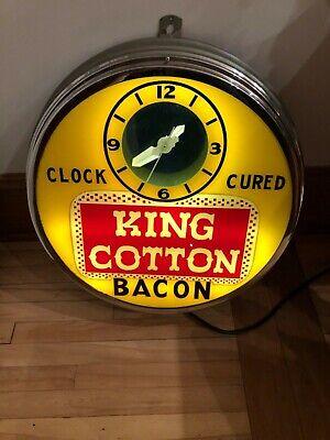 "VINTAGE SUPERB c.1940 MINTY RARE GLO-DIAL ""KING COTTON"" NEON CLOCK 100% ORIGINAL"