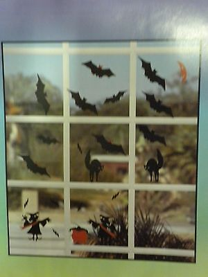 Halloween Fall Decoration Window Clings Bats N' Cats Witches 5 1/2 inches 27 pcs