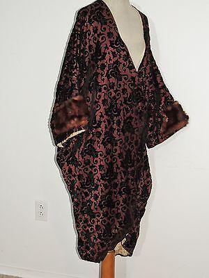 Vintage  De Frisco  1920 - 1930's Cut Velvet Opera Cocoon Coat w Fur  MED