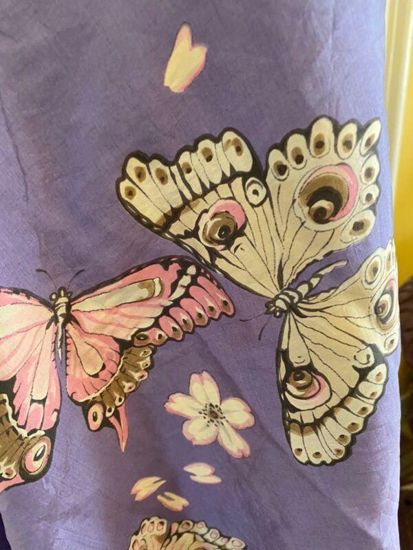 Antique~vintage Silk Textile Fragment Asian Kimono Fabric Silk Moth Pink Purple