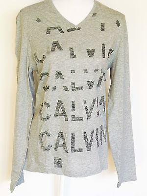 Calvin Klein Herren V-ausschnitt (Calvin Klein Herren LangarmShirt,Grau Printed V-Ausschnitt T-Shirt Baumwolle  )
